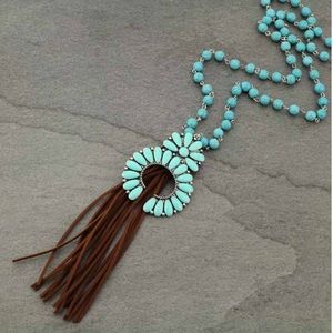 Beaded Turquoise Squash Blossom Necklace